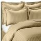 Kuber Industries180 TC Satin Self-Stripe Double Bedsheet with 2 Pillow Covers (Light Brown)