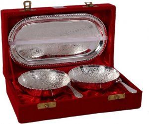 Kuber Industries™ Floral Design Silver Plated 1 Tray, 2 Bowl and 2 Spoons set with Velvet box