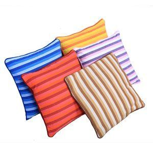 Kuber Industries™ Cotton Fabric Striped Multicolor Cushion Cover Set of 5 - 16*16 Inches