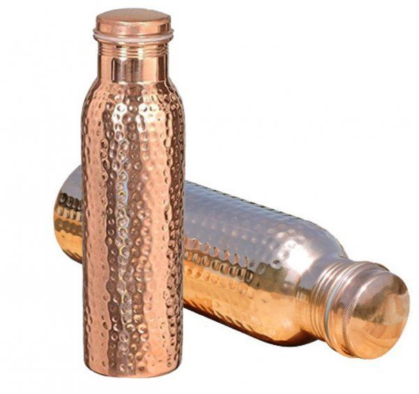 Kuber Industries™ Leak Proof Pure Copper Bottle Set of 2 Pcs 1000 ML Handmade, Ayurveda and Yoga Bottle with Medicinal Benefits-Copper133 (Exclusive Design)