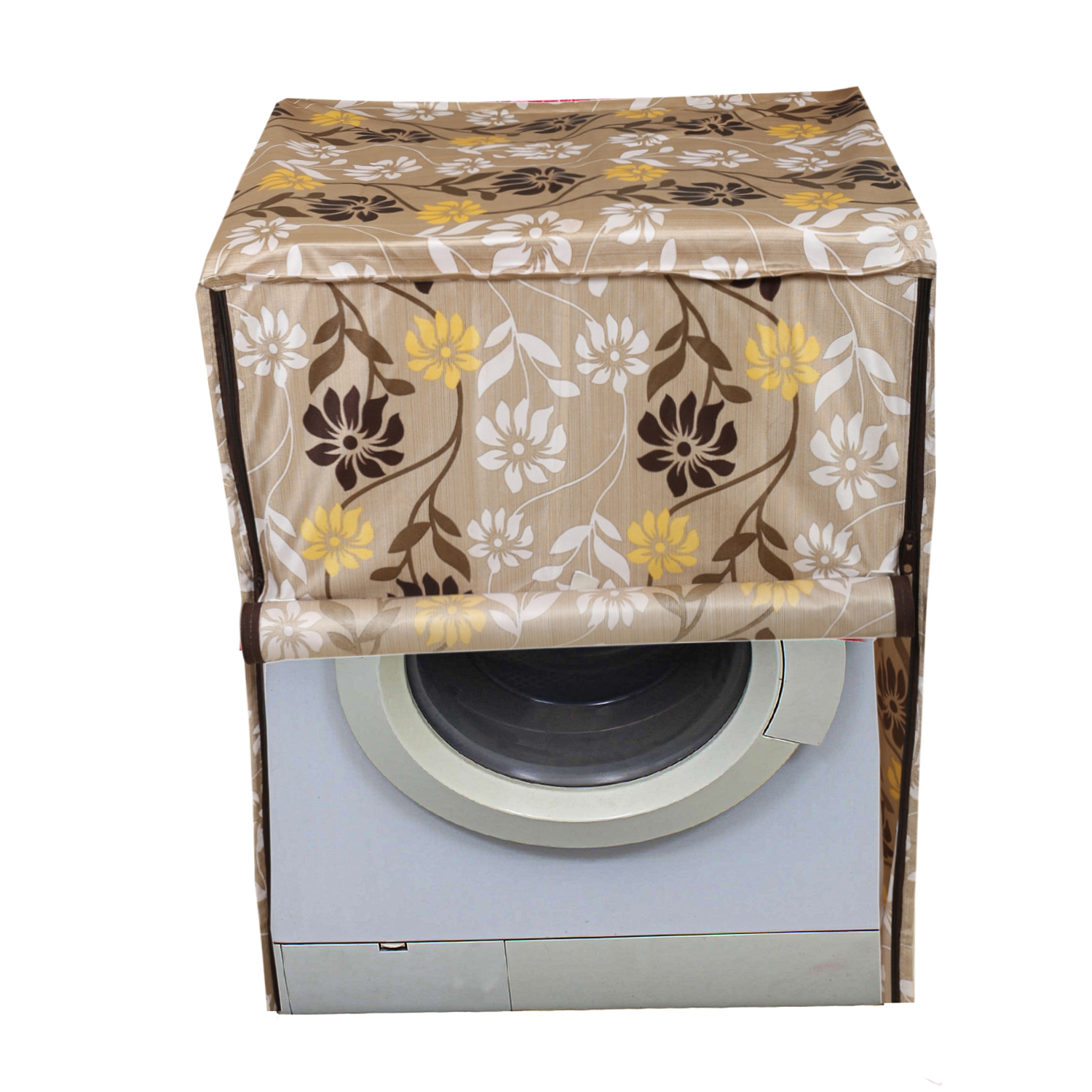 Kuber Industries Fabric Front Load Fully Automatic Washing Machine Cover (Light Brown)