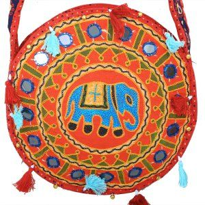Kuber Industries™ Ethnic Embroidry Mirror Work Sling Bag in Round Design (Red) - BG9