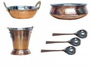 Kuber Industries Handmade Hammered Copper Steel /Copper Gravy Bucket/Balti 1 Pcs with 1 Handi Bowl, 1 kadai and 3 Spoon For Serving Dishes (Buck340)