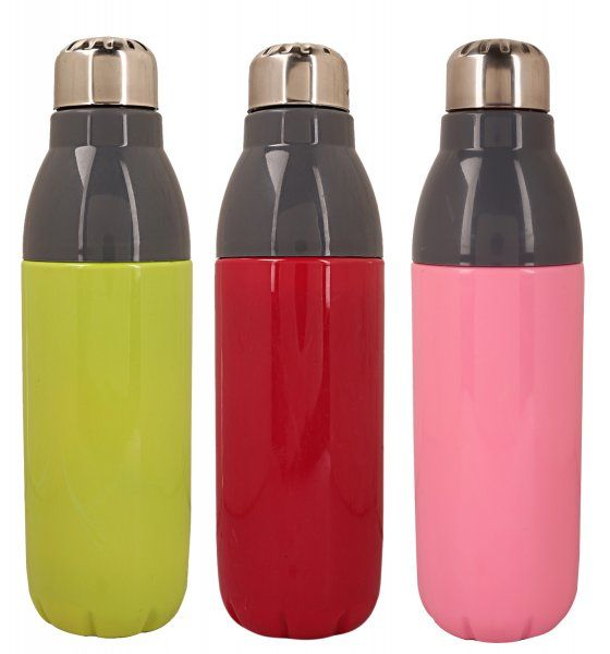Kuber Industries Plastic Insulated Campus Water Bottle (Multi) Set of 3 Pcs