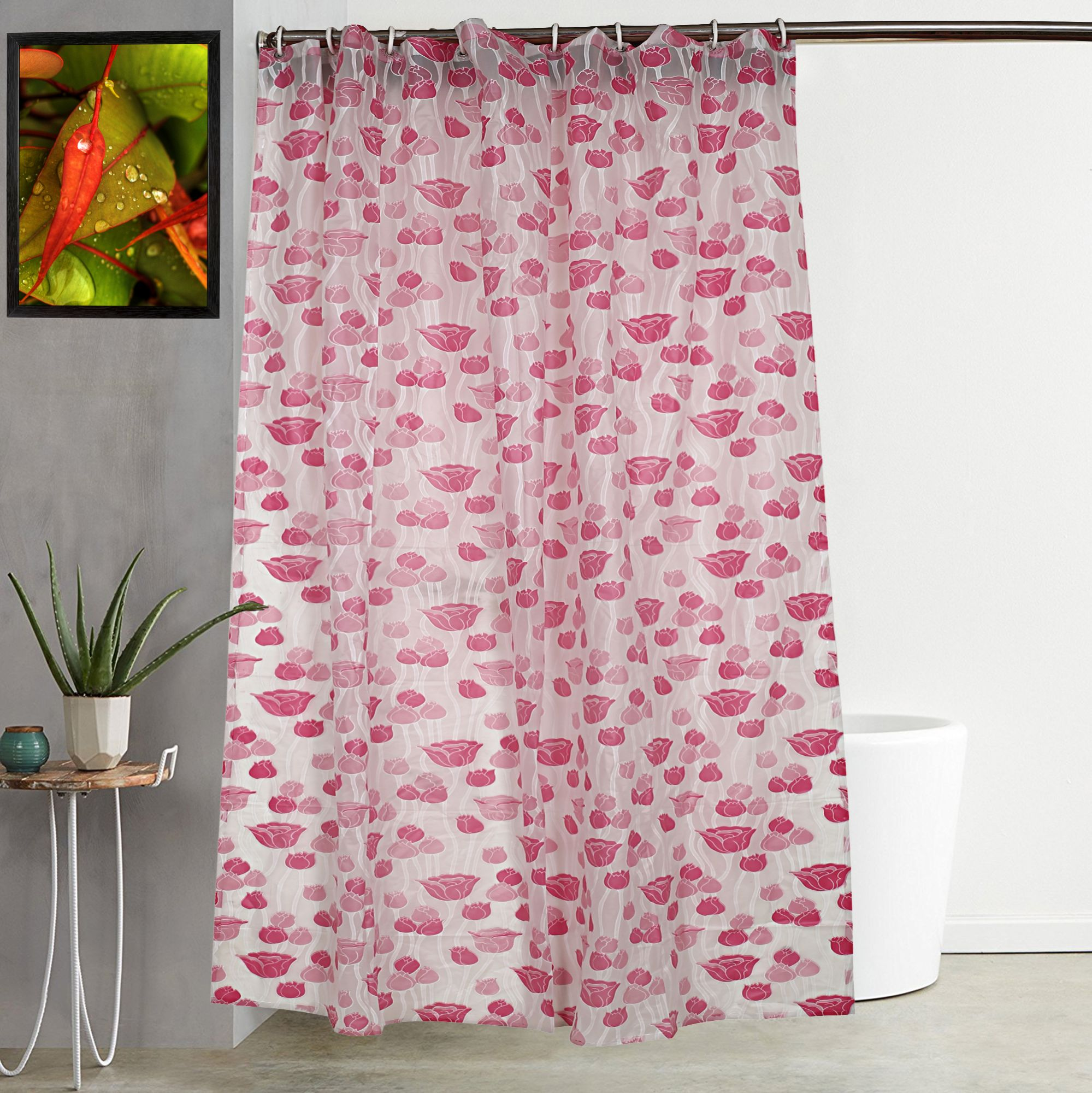 Kuber Industries PVC 7 Feet Shower Curtain with 8 Hooks (Pink)-CTKTC3923