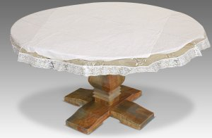 "Kuber Industries PVC Waterproof 4 Seater Round Table Cover with Silver Lace 60"" x 60"" (Silver)-CTKTC3546"