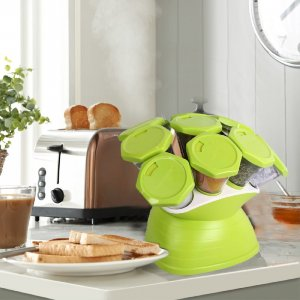 Kuber Industries Trueware Plastic 10 in 1 Spice  Rack (Green)-CTKTC3556