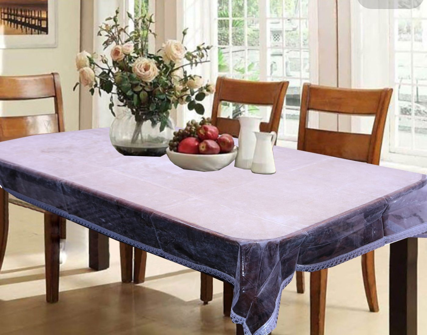 Kuber Industries Dining Table Cover Transparent Designer Silver Lace 60*90 Inches (Silver) DT325