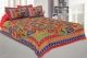 Kuber Industries Cotton 144 TC Double Bedsheet with 2 Pillow Covers (Red)Leaf Design