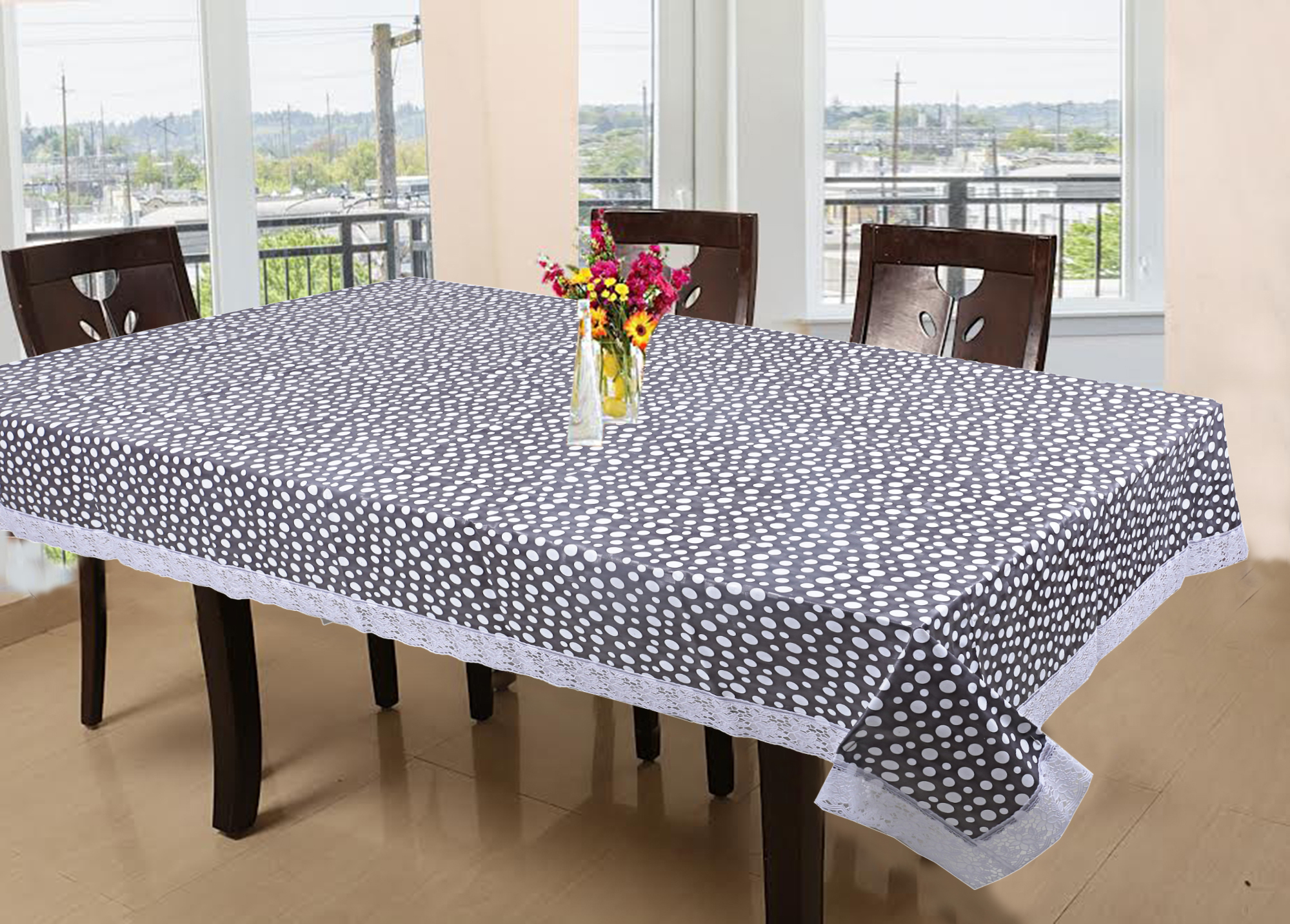 Picture of: Kuber Industries Pvc 6 Seater Dining Table Cover Grey Ctktc5389