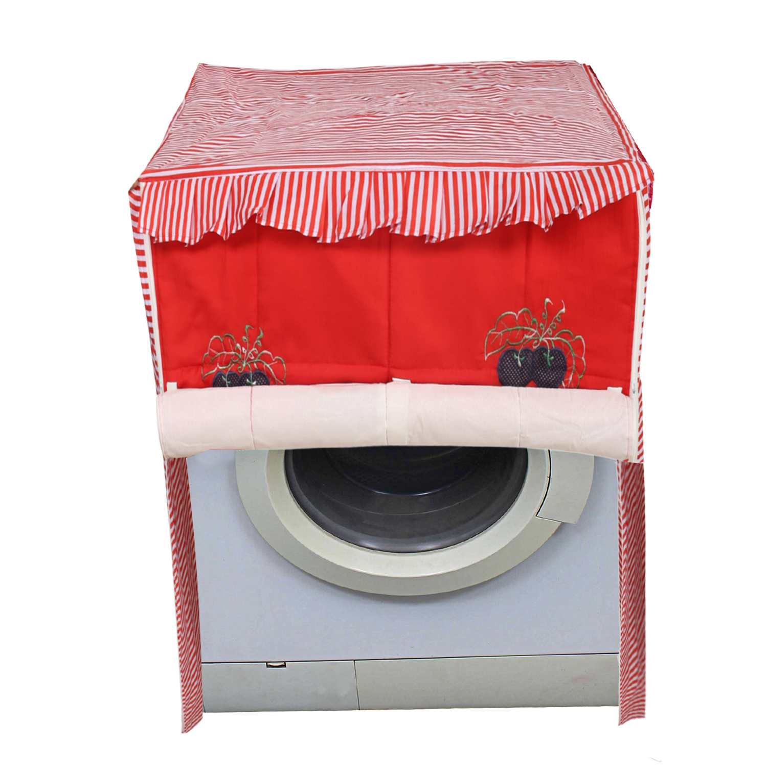 Kuber Industries Cotton Front Load Fully Automatic Washing Machine Cover (Red)