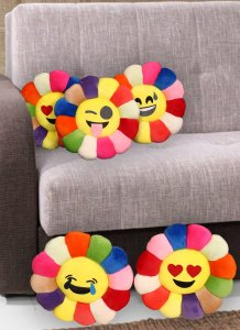 Kuber Industries Feather Emoji Smiley Cushion 40x40 CM (Multi) Set of 5 Pcs-CTKTC1510