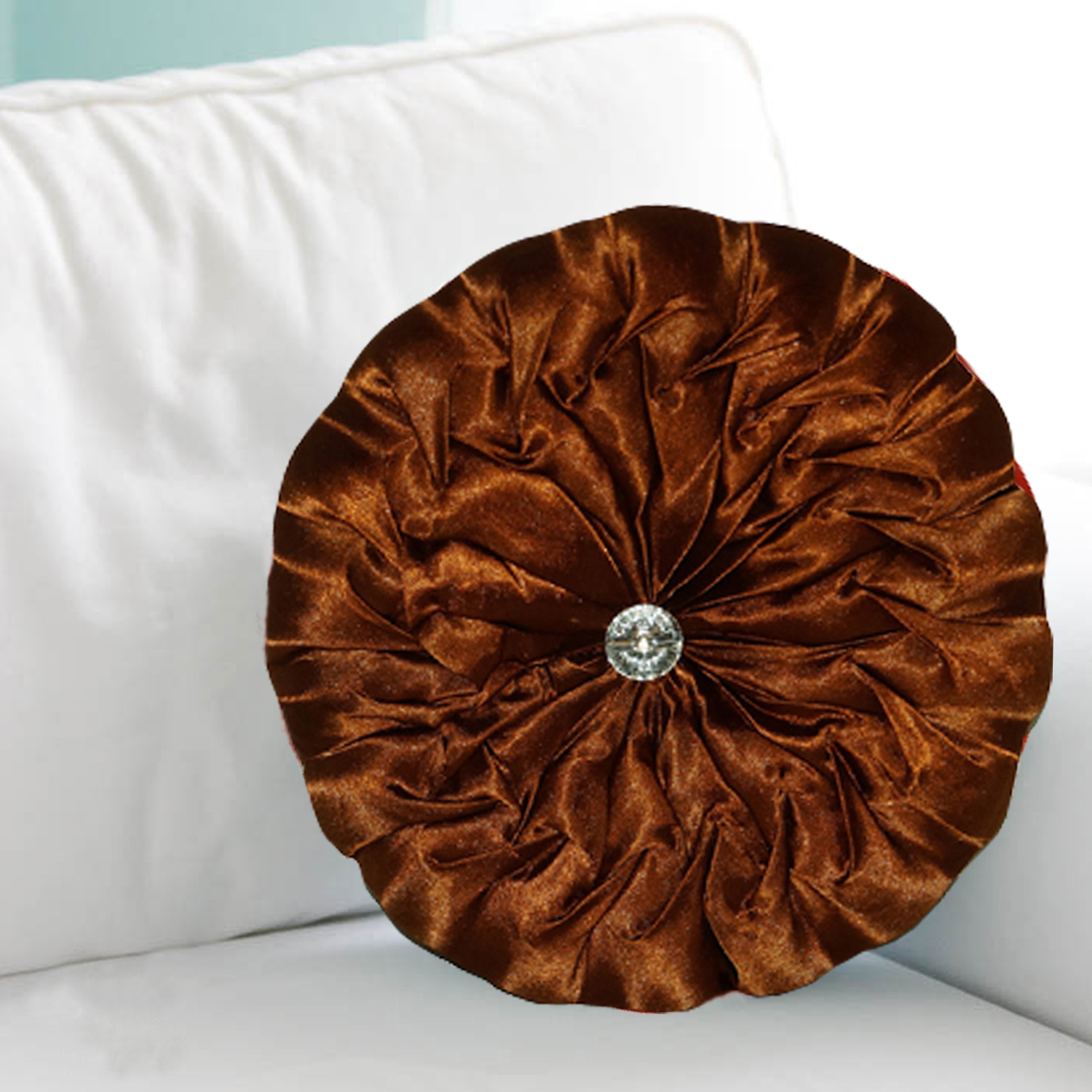 Kuber Industries Silk Round Shape Cushion 35x35 CM (Multi) Set of 1 Pc-CTKTC1530