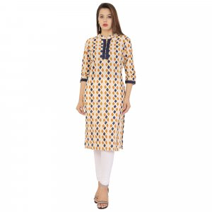 Kuber Industries Women Designer Nehru Neck Cream Printed Straight Kurta