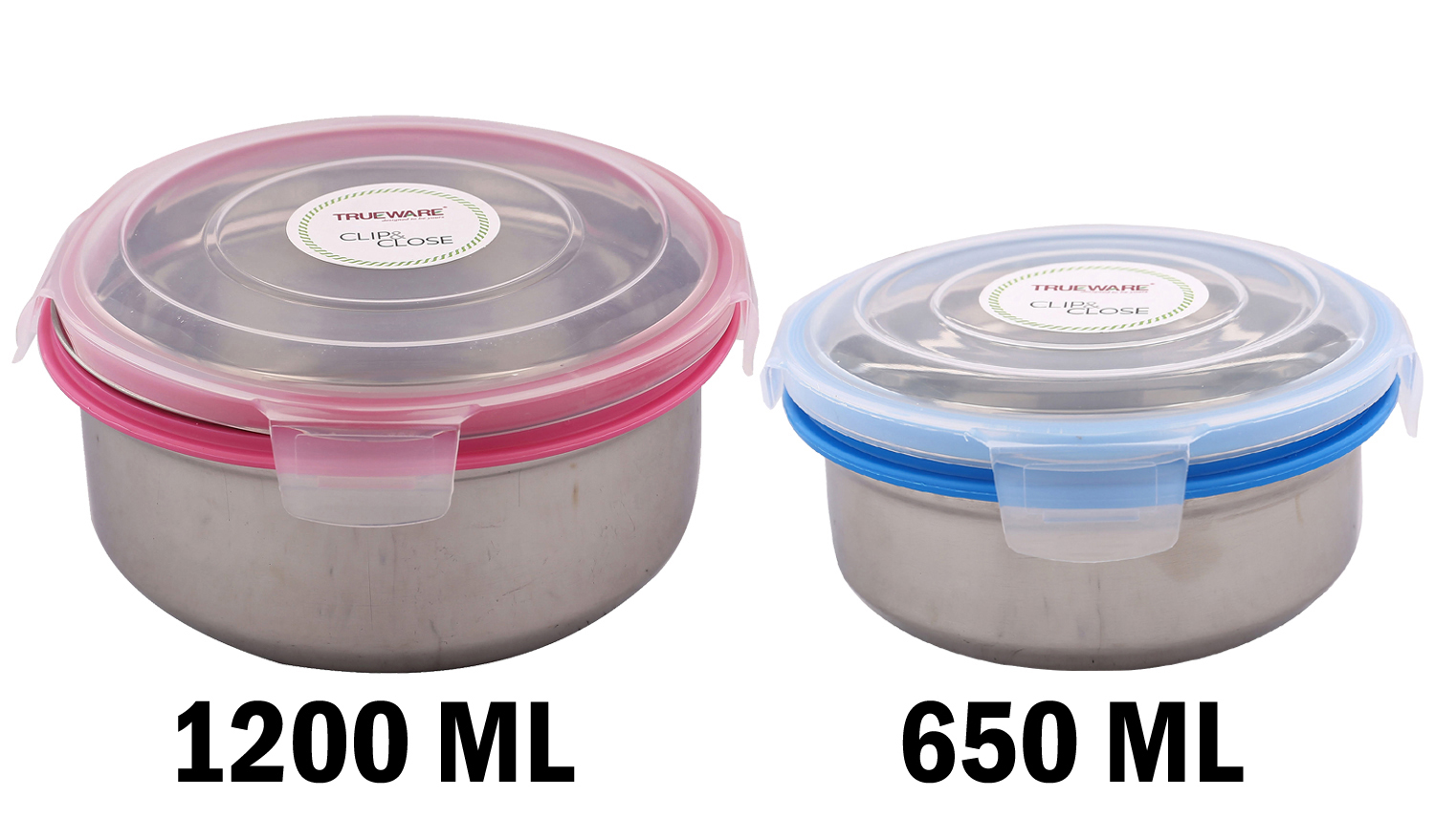 Kuber Industries Plastic 2 Piece Big & Small Size Multipurpose Container (Pink & Blue)-CTKTC3634