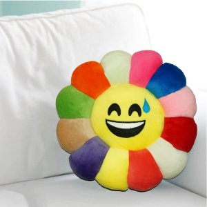 Kuber Industries Feather Emoji Smiley Cushion 40x40 CM (Multi) Set of 1 Pc-CTKTC1502