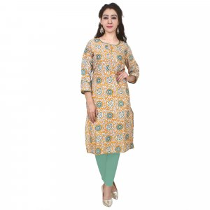 Kuber Industries Women Printed Straight Kurta  (Multicolor)