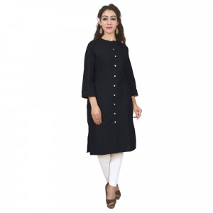 Kuber Industries Women Dyed Straight Kurta  (Black)