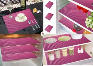 Kuber Industries™ Refrigerator Mat/Fridge Mat/Drawer Mat/Place Mat Set of 6 Pcs (13*19 Inches) (Pink) Multi Purpose Use (FRP020)