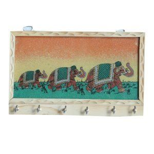 Kuber Industries™ Wooden Handicraft Wall Décor Ethnic Gemstone Painted 6 Hook Wooden Key Hanger|Key Holder (Hand28)