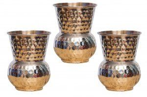 Kuber Industries Hammered Copper Mughlai/Dholak/Drinking Glass/Cup Tumbler Drinkware, Serveware Set of 3 Pcs (Dholak13)