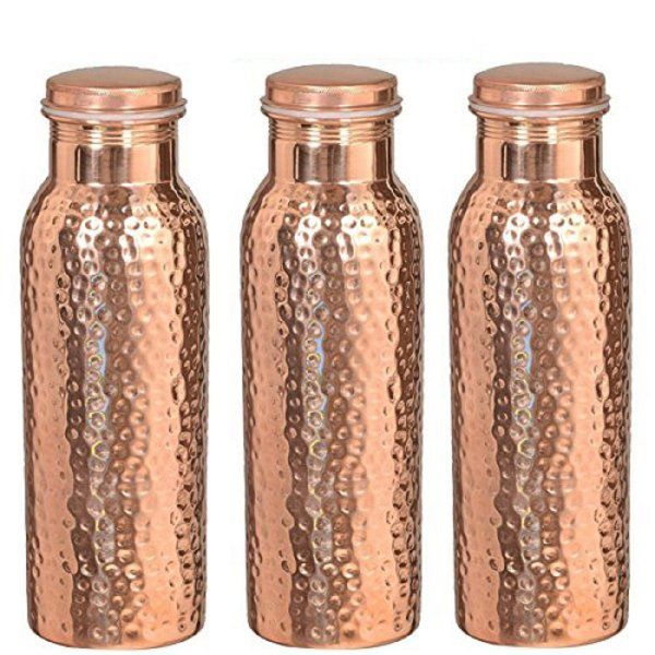 Kuber Industries™ Leak Proof Pure Copper Bottle Set of 3 Pcs 1000 ML Handmade, Ayurveda and Yoga Bottle with Medicinal Benefits-Copper133 (Exclusive Design)