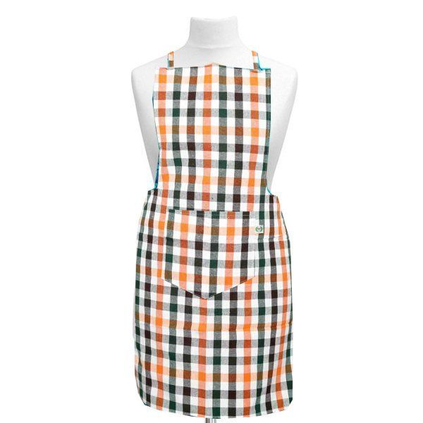 Kuber Industries Check Design Cotton Kitchen Apron With Front Pocket-Code013