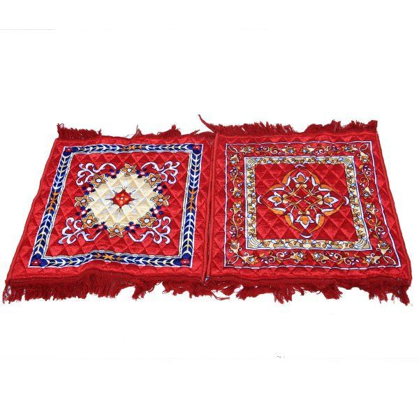 Kuber Industries™ Red Velvet Pooja Aasan, Pooja Mat Set of 2 Pcs (2 Ft X 2 Ft)
