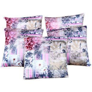 Kuber Industries™ HD Digital Premium Silk Floral Cushion Cover - Set of 5 - Beige (16*16) Inches