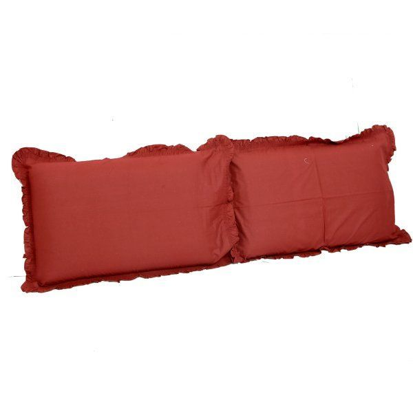"Kuber Industriesâ""¢ Embroided Premium Cotton Pillow Cover with Frill Flange,Set of 2 - Maroon - KU105"