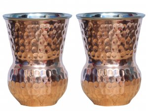 Kuber Industries™ Hammered Copper in inner Steel Material Mughlai/Dholak/Drinking Glass/Cup Tumbler Drinkware, Serveware Set of 2 Pcs (Dholak051)