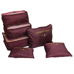Kuber Industries 6 Pieces Travelling Mesh Laundry Pouch/Cloth Organizer Storage Bag (Wine Red)-CTKTC1455