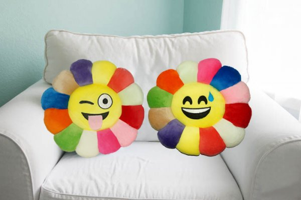 Kuber Industries Feather Emoji Smiley Cushion 40x40 CM (Multi) Set of 2 Pcs-CTKTC1505