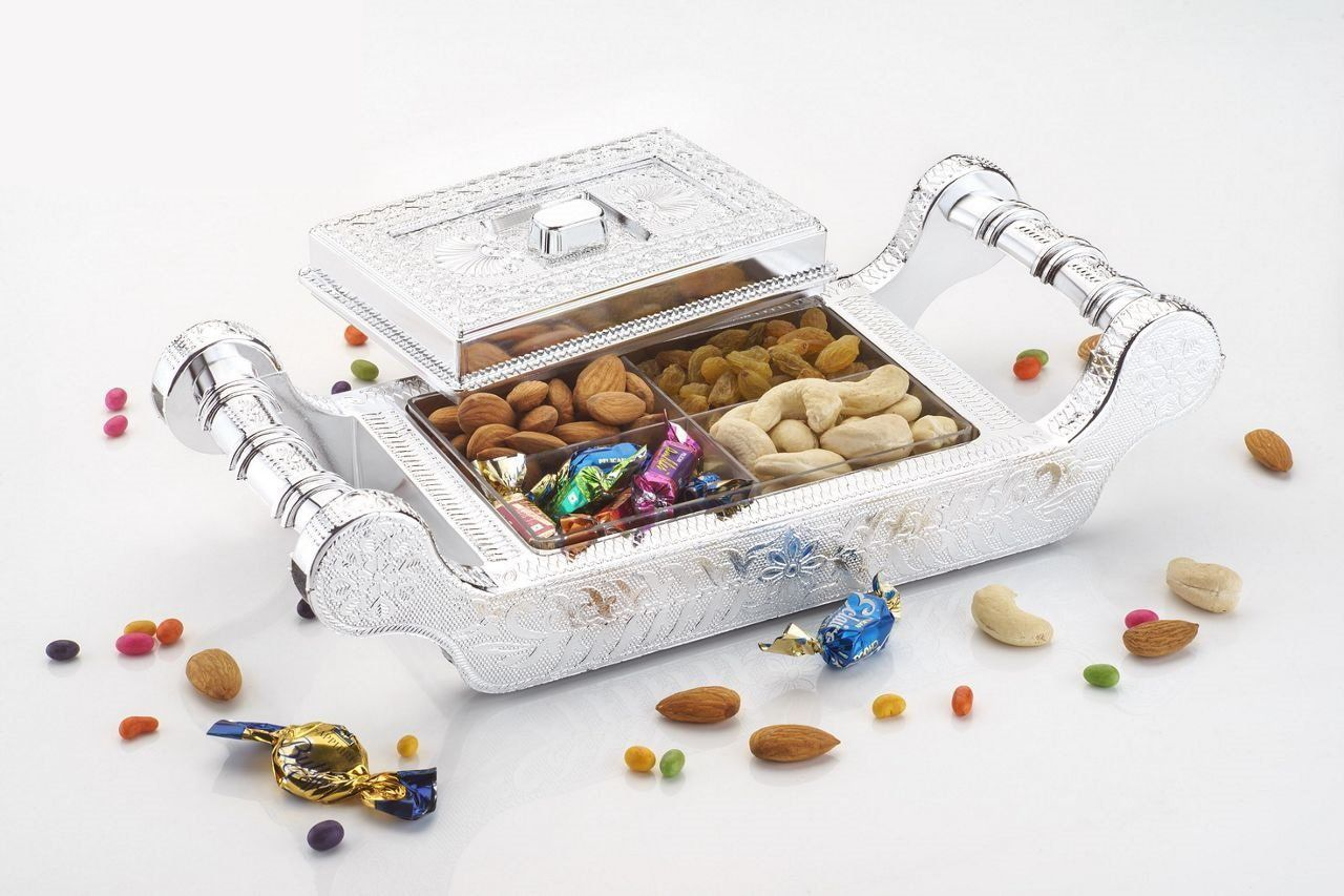 Kuber Industries™ Dry Fruit Box,Serving Tray,Decorative Box,Mouth Freshner Box,Decorative Platter,Gift Box in Palki Design (DF04)