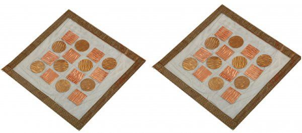 """Kuber Industriesâ""¢ Bed Side Table Mat,Table Mat Set of 2 Pcs in laminated Patch Design (Square 30 x 30 Cm) KU170 """