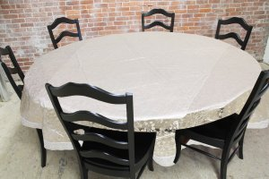 "Kuber Industries PVC Waterproof 6 Seater Round Table Cover with Silver Lace 72"" x 72""  (Silver)-CTKTC3548"