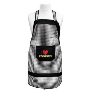 Kuber Industries Check Design Cotton Waterproof Kitchen Apron With Front Pocket In Heavy Cloth Material-Code016