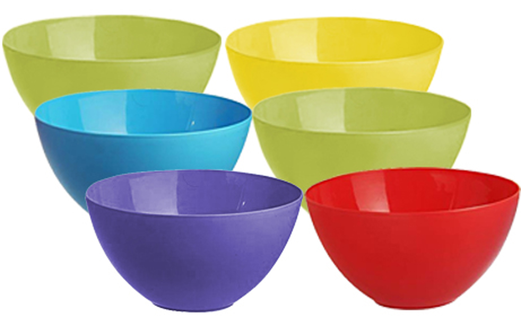 Kuber Industries Plastic Microwave Safe 6 Pieces Mixing Bowl Set- 2000 ML (Multi) - CTKTC34745