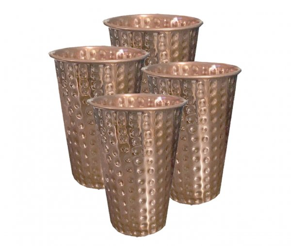 Kuber Industries Hammered Big Size Copper Drinking Glass/Tumbler/Lassi Glass 300 ML each- Set of 4 Pcs Ayurvedic Health benefit Drinkware (Lassi14)