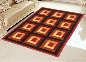 Kuber Industries Cotton Big Size Carpet for Living Room  (Maroon) Set of 1 Pc, 5x7 feet