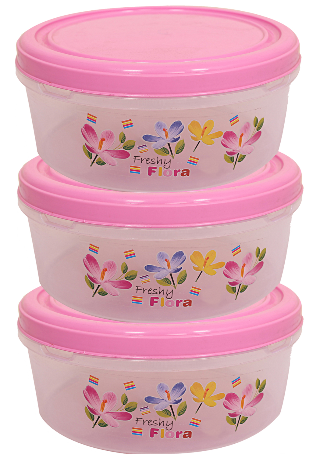 Kuber Industries Plastic Papad Box/Kitchen Container set of 3 Pc (Pink)