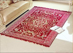 Kuber Industries Home Premium Living Room Velvet touch Carpet Rug -(84*54 Inches , Red) CA-02