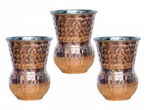 Kuber Industries™ Hammered Copper in inner Steel Material Mughlai/Dholak/Drinking Glass/Cup Tumbler Drinkware, Serveware Set of 3 Pcs (Dholak064)
