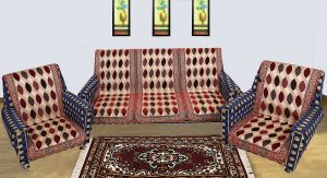 Kuber Industries Oval Design 3 Pieces Full Length Velvet 5 Seater Sofa Cover With Strip (Maroon)-CTKTC1297