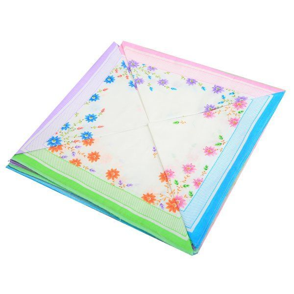 Kuber Industries 100% Cotton Women's Handkerchief Set of 12 Pcs (Flower Design 30*30 Cm)  -KU69