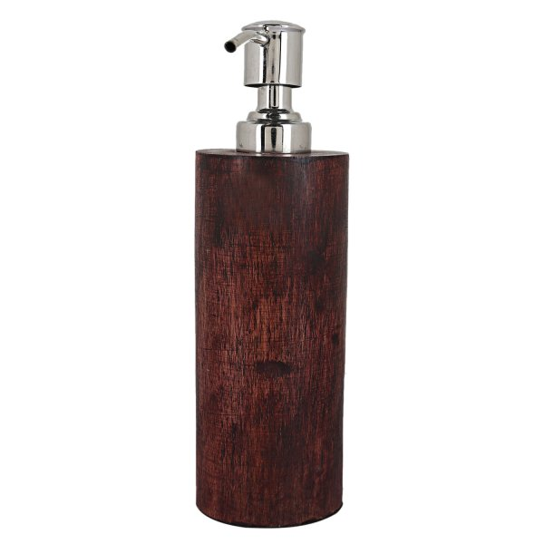 Kuber Industries Wooden Double Layered Liquid Soap Dispenser (Silver)