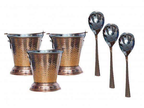 Kuber Industries Handmade Hammered Copper Steel /Copper Gravy Bucket/Balti 3 Pcs with 3 serving Spoons For Serving Dishes (Buck24)