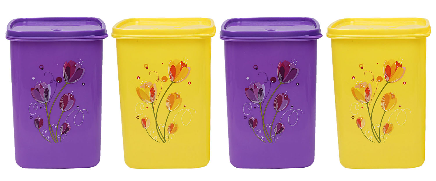 Kuber Industries Plastic 4 Pieces Multipurpose Storage Container Set 2000ml (Yellow & Purple) - CTKTC23355