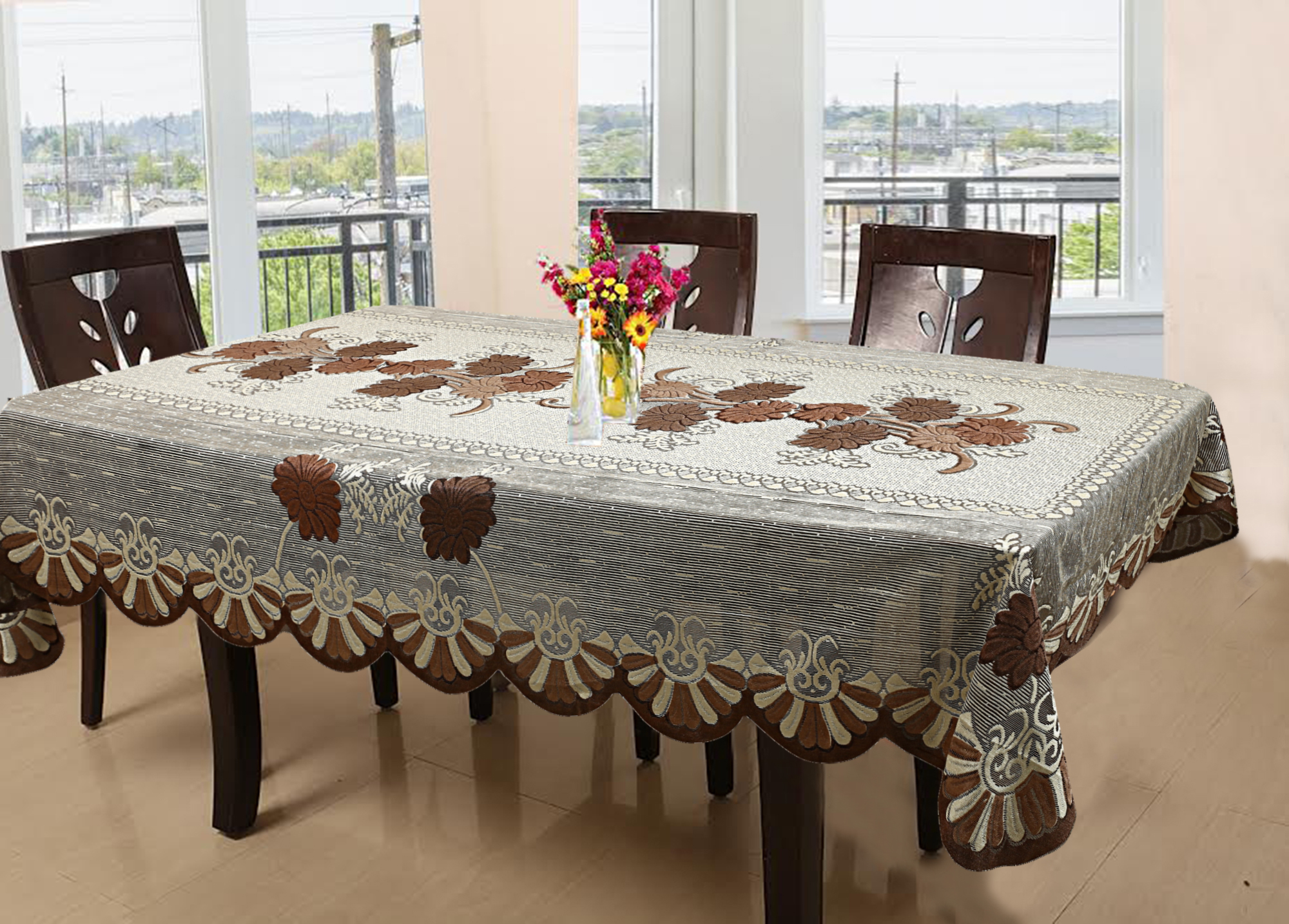 Kuber Industries Cotton 6 Seater Dining Table Cover (Brown) -CTKTC5158