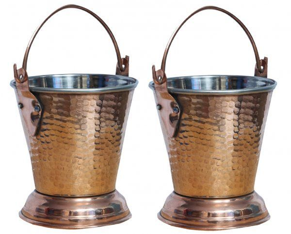 Kuber Industries Handmade Hammered Copper Steel /Copper Gravy Bucket/Balti Set of 2 Pcs For Serving Dishes (Height: 5 Inches Width: 4 Inches Depth: 2.5 Inches) (Buck12)